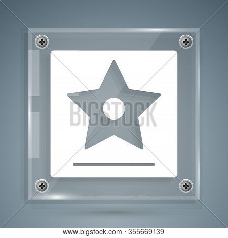 White Hollywood Walk Of Fame Star On Celebrity Boulevard Icon Isolated On Grey Background. Famous Si