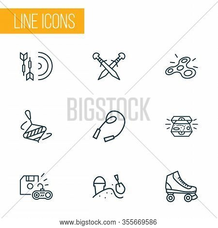 Activity Icons Line Style Set With Darts, Whirligig, Sandbox Rollerskating Elements. Isolated Vector