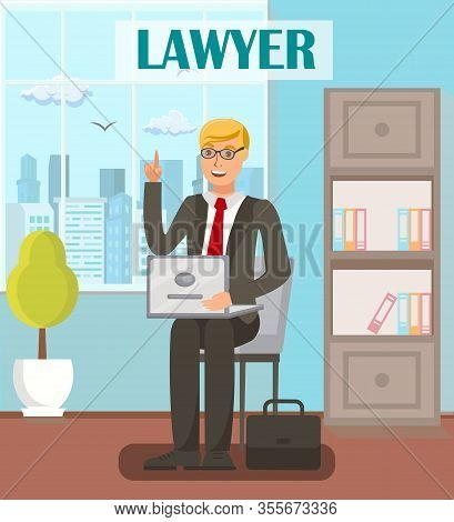 Lawyer, Legal Advisor Flat Vector Banner Template. Cartoon Male Attorney With Raised Index Finger Ge