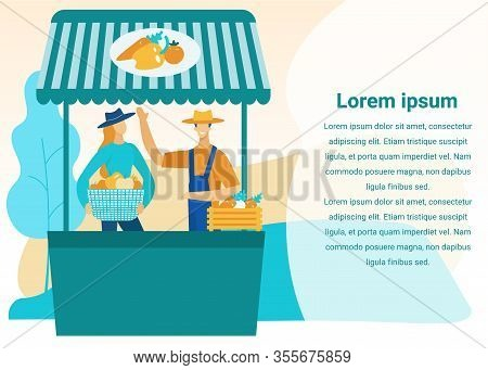 Man And Woman Sell Vegetables On Market. Vegetable Counter. Vector Illustration. Harvest. Farm Busin