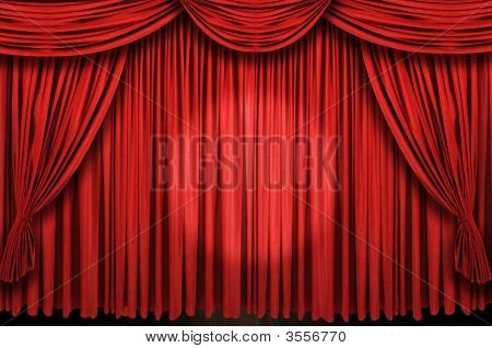Large Red Curtain Stage Ans Spot Light
