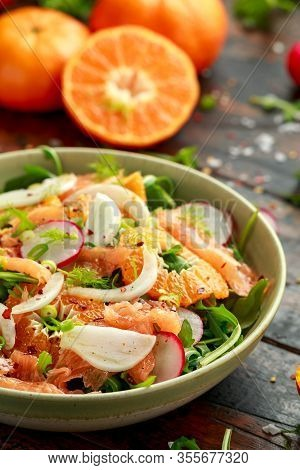 Smoked Salmon And Fennel Salad Wild Rocket, Radishes And Sweet Clementines