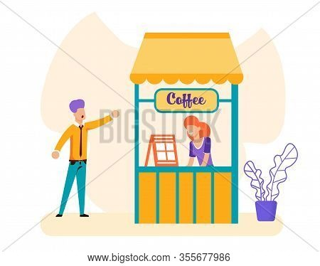 Cartoon Man And Saleswoman At Coffee-box Illustration. Vector Guy Making Order Hot Drink Or Declare