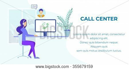 Cartoon Woman Manager, Advisor, Agent In Headset Having Clients Call. Comfortable Workplace With Lap