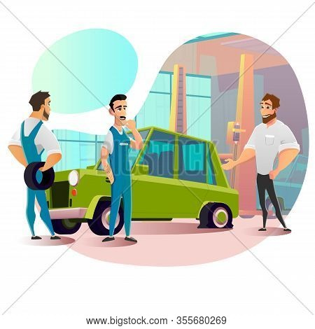 Cartoon Man Visit Tire Repair Service With Punctured Wheel On Car. Guy Asking Technician For Damaged