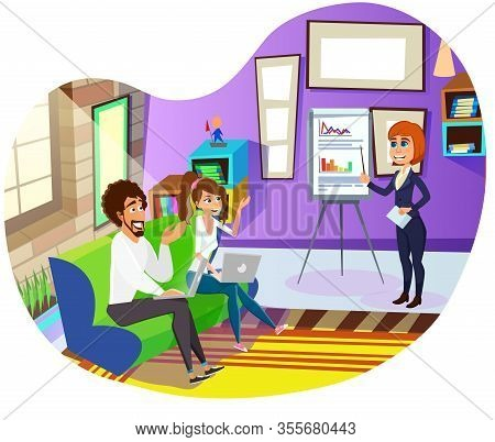 Woman Boss In Smart Business Suit, Explaining Financial Diagrams And Charts On Flipchart To Colleagu