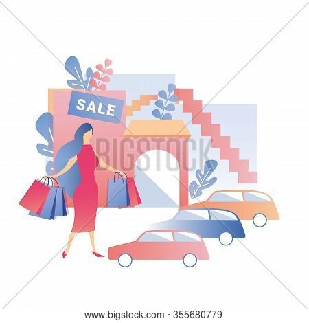 Woman Holding Shopping Bags Stands On Shop Parking With Cars. Female Visitor Character Enjoying Sale