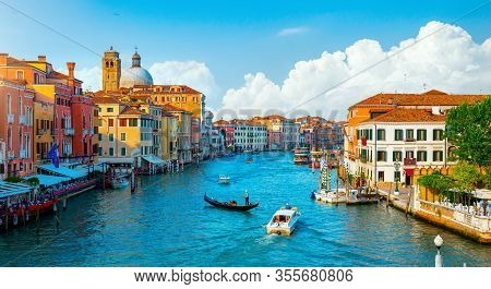 Gondolas And Grand Canal In Venice, Italy