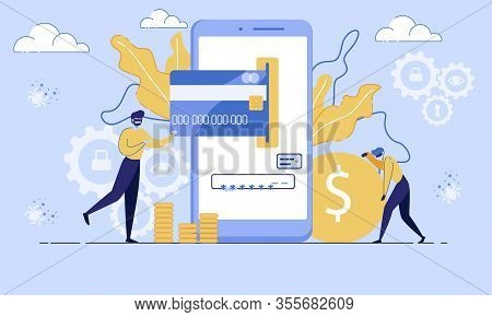 Financial Fraudulent In Internet, Online Mobile Payments Safety, Protection Trendy Flat Vector Conce