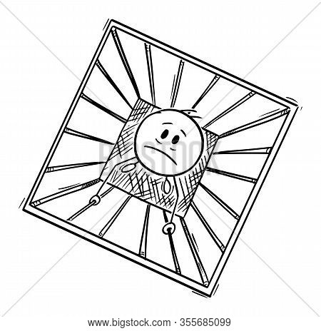 Vector Cartoon Stick Figure Drawing Conceptual Illustration Of Prisoner Or Man Trapped In Jail Or Pr