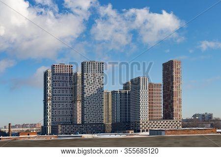 City Landscape, Residential Area High-rise Buildings, Clear Clear Blue Sky. Modern Multi-storey Apar