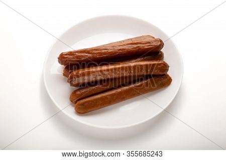 Food Swap. Meatless Sausages On Plate Isolated On White Background, Free Space