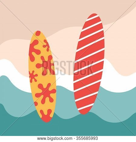 Two Color Flat Surfs With Patterns. Rest On The Sea, Extreme, Hobbies And Adrenaline On The Waves. I