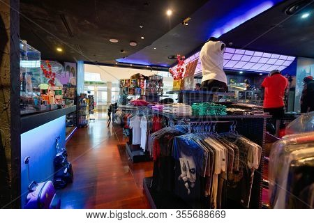 SINGAPORE - JANUARY 20, 2020: clothes on display in DC Comics Super Heroes Cafe at the Shoppes at Marina Bay Sands in Singapore.
