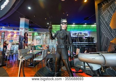 SINGAPORE - JANUARY 20, 2020: Catwoman life size statue on display in DC Comics Super Heroes Cafe at the Shoppes at Marina Bay Sands in Singapore.