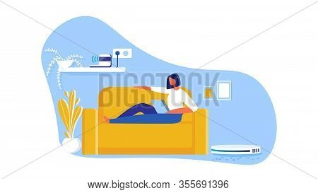 Robot Cleaner Cartoon Flat Vector Illustration. Girl Lying On Sofa With Laptop In Living Room Interi