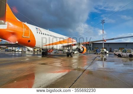 BERLIN, GERMANY - CIRCA SEPTEMBER, 2019: easyJet Airbus A320-214 on tarmac at Berlin Tegel