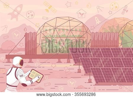 Astronaut In Helmet Space Suit Near Solar Panel, Greenhouse Dome. Red Planet Landscape Cosmic Base C