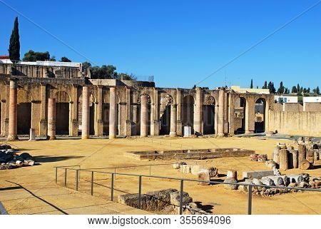 View Of The Roman Theatre Ruins At Santiponce, Italica, Seville, Seville Province, Andalusia, Spain,