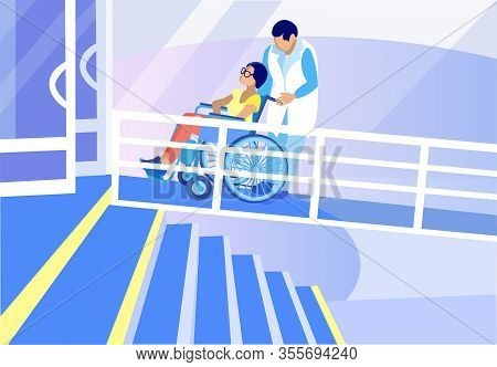 Caregiver Assisting Handicapped Women Sitting On Wheelchair In Hospital Or Rehabilitation Center. Ma