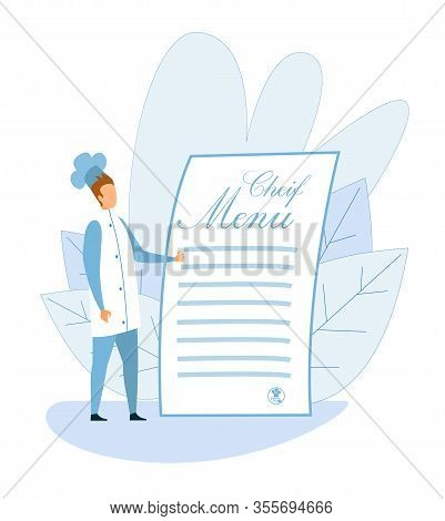 Cartoon Chef Standing With Big Empty Restaurant Or Cafe Menu Food List Mockup For Text. Man Master C