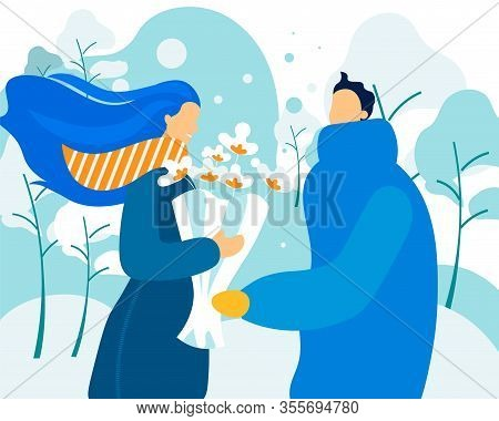 Bright Flyer Winter Bouquet For Couple In Love. People In Love Make Nice Little Things To Each Other