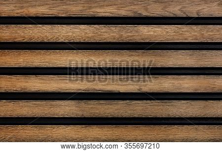 Smooth Wooden Horizontal Guides With A Pronounced Texture Are Symmetrically Located Relative To Each
