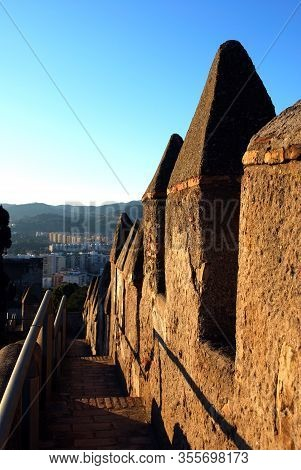 Castle Battlements In The Late Afternoon Sun, Gibralfaro Castle, Malaga, Andalucia, Spain, Europe