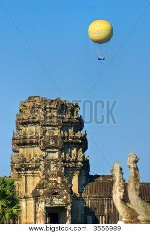 Balloons over Angkor wat Siem reap Cambodia. poster