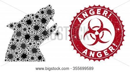 Coronavirus Collage Werewolf Icon And Rounded Grunge Stamp Watermark With Anger Exclamation Text. Mo