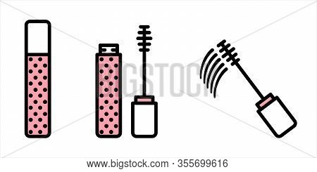 Vector Set Of Makeup From Closed, Open And Leaving Mascara. Vector Mascara Brush Icons In Flat Linea
