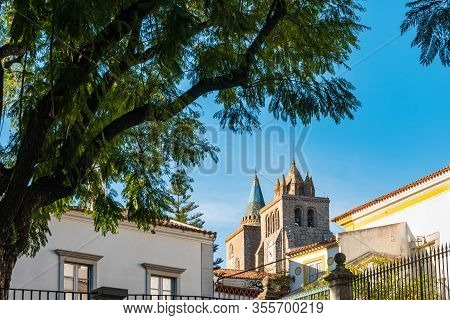 View To Main Facade Of The Cathedral Dated In The Xii Century Dedicated To The Virgin Mary In Evora.
