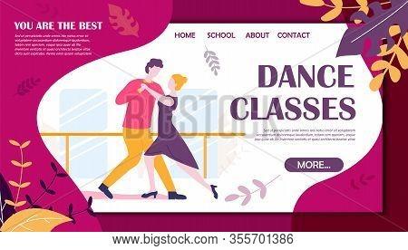 Dance Classes Banner. Couple Man Woman In Dancing School Vector Illustration. Salsa Teaching, Tango
