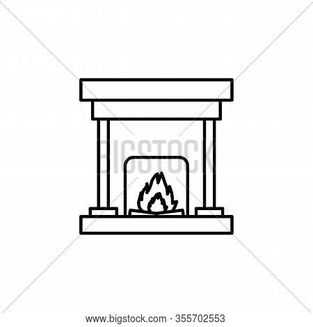 Heating, Pellet, Stove Line Illustration Icon On White Background