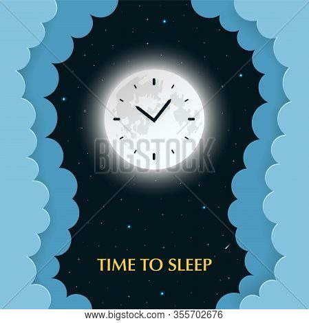 Full moon with clocks on the dark night background with stars and paper clouds with 3d effect. Sleep phases, circadian rhythms concept. Time to sleep. Paper cut style. Vector Illustration.
