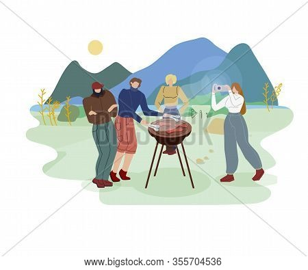 Friends Summer Outing Flat Vector Illustration. Students Having Fun On Barbecue Party. Men Cooking F