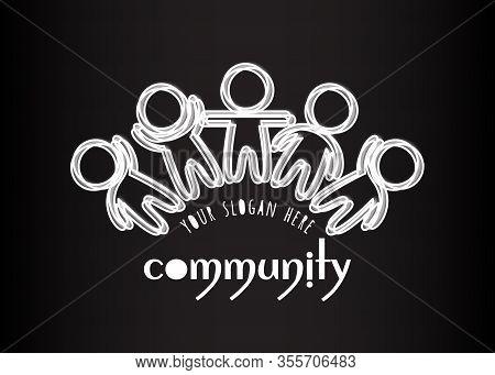 Community Logo. Social Network Media People Logo. Creative Teamwork Logo. White Many Outlined Silhou