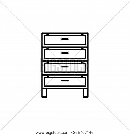 Cabinet, Closet, Cupboard Line Illustration Icon On White Background