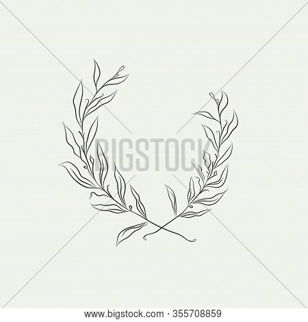 Line Drawing Vector Floral Wreath, Frame With Hand Drawn Flowers, Branches, Leaves, Plants, Herbs, L