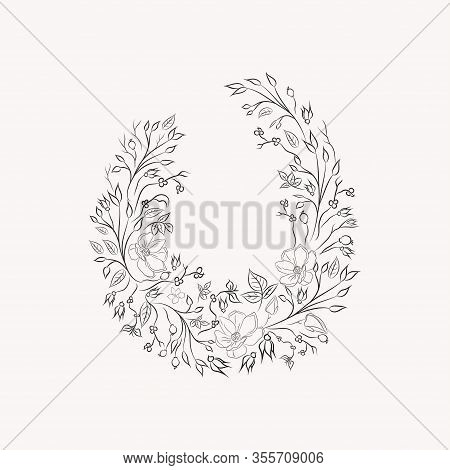 Line Drawing Vector Floral Wreath, Opulent Round Frame With Hand Drawn Magnolia Flowers, Branches, L