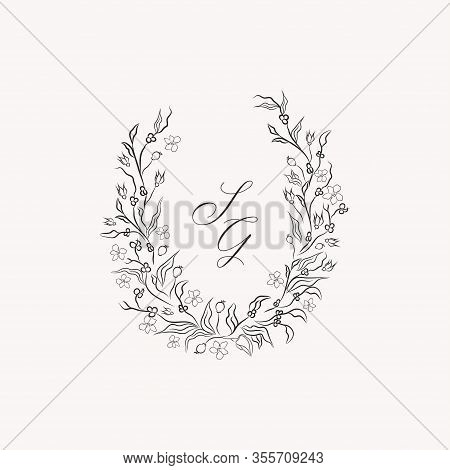 Line Drawing Vector Floral Wreath, Opulent Oval Frame With Hand Drawn Magnolia Flowers, Branches, Le