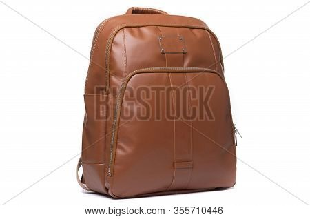 Hand Made Leather Brown Womens Backpack On A White Background.