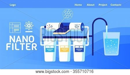 Landing Page With Menu And Company Logo Offer Nano Filter For Water Treatment And Cleaning From Envi