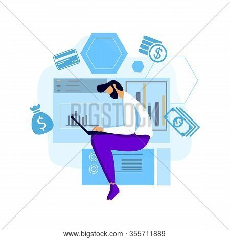 Man Working Hard Laptop Brainstorming Process Motivate Flat Cartoon Banner Banker Trader Worker Anal
