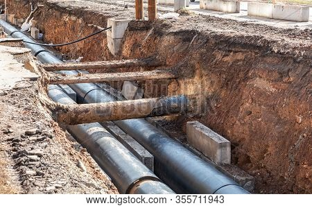 Replacement Of Heating Pipes And Modernization Of The Heating System. Repair Of Old Rusty Metal Pipe
