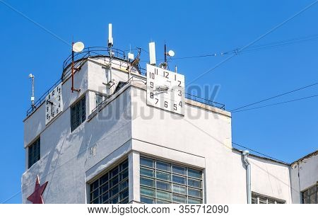 Telecommunication Aerial Antennas On The Roof Of The Building
