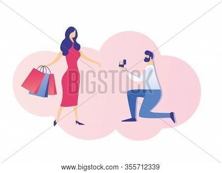 Young Bearded Brunet, Standing On His Knee, Proposing To His Love With Shopping Colored Paper Bags I