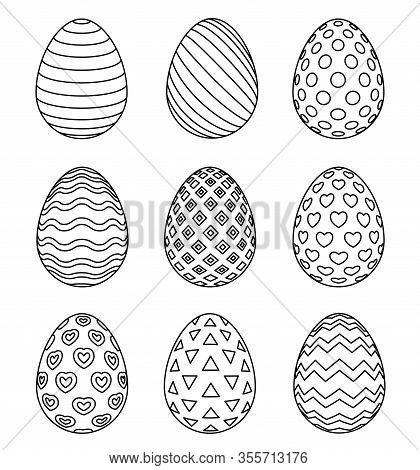 Easter Eggs Set With Different Patterns Isolated On White Background. Coloring Page For Childrens Bo