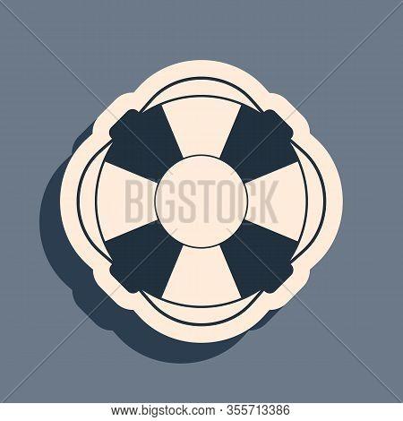 Black Lifebuoy Icon Isolated On Grey Background. Lifebelt Symbol. Long Shadow Style. Vector Illustra