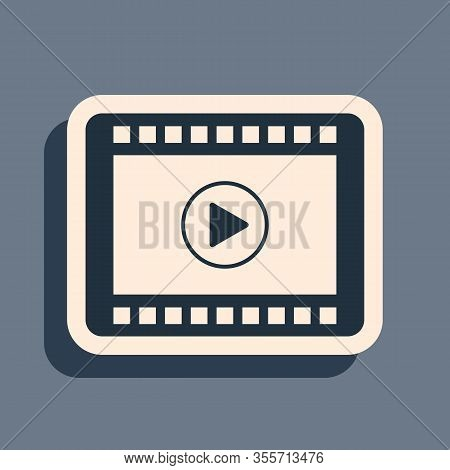 Black Play Video Icon Isolated On Grey Background. Film Strip With Play Sign. Long Shadow Style. Vec